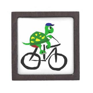Funny Turtle Riding Bicycle Keepsake Box