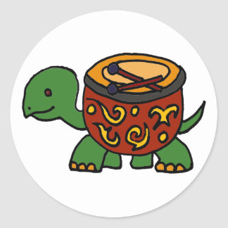 Funny Turtle with Bongo Drum Shell Art Classic Round Sticker