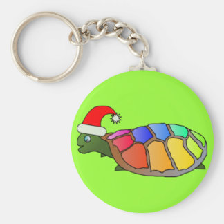 Funny Turtle with Santa Hat Basic Round Button Keychain