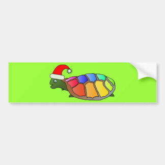 Funny Turtle with Santa Hat Bumper Sticker