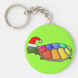 Funny Turtle with Santa Hat Keychain