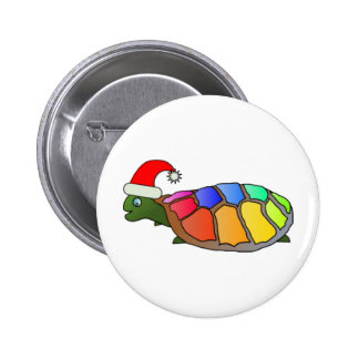 Funny Turtle with Santa Hat Pinback Button