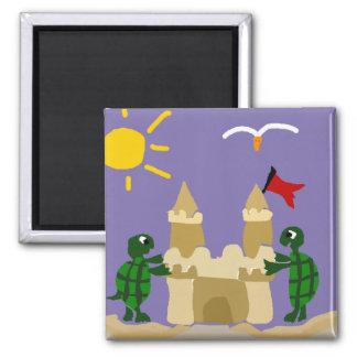 Funny Turtles Building Sand Castle Magnet
