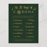 Funny Twelve Days of Corona | Gold Christmas Green Holiday Postcard