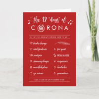 Funny Twelve Days of Corona Modern Red Holiday Card