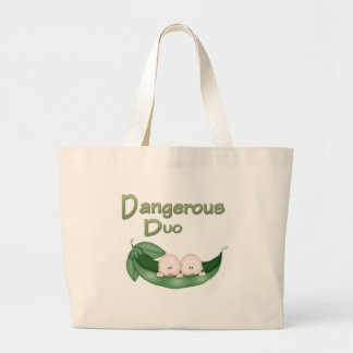 Funny Twins Large Tote Bag