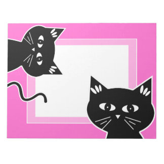 Funny Two Black Cats Hot Pink Note Pad