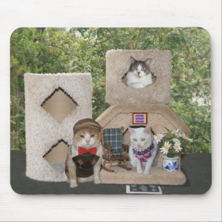 Funny Two Story Kitty Condo Mouse Pad