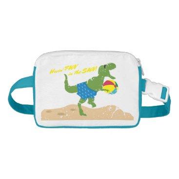 Beach Themed Funny tyrannosaurus rex dinosaur summer beach ball fanny pack