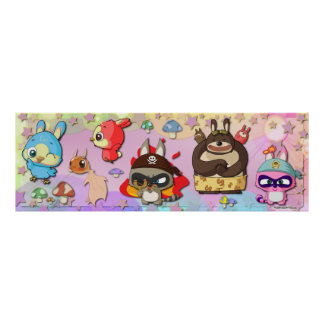 Funny TYZU Cartoon Cute Characters Kawaii Poster