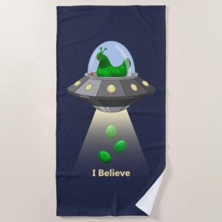 Funny UFO Green Chicken Egg Alien Abduction Beach Towel