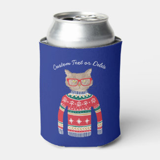 Funny Ugly Christmas Sweater, Cat Lover Custom Can Cooler