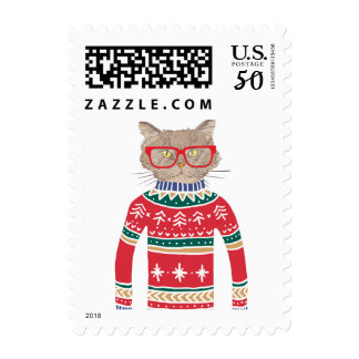 Funny Ugly Christmas Sweater, Cat Wearing Glasses Postage