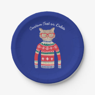 Funny Ugly Christmas Sweater, Custom Cat Lover Paper Plate