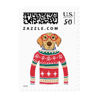 Funny Ugly Christmas Sweater, Dog Wearing Glasses Postage