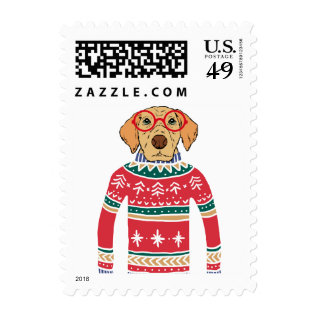 Funny Ugly Christmas Sweater, Dog Wearing Glasses Postage at Zazzle