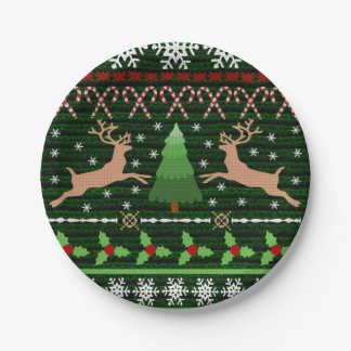 Funny Ugly Christmas Sweater Inspired 7 Inch Paper Plate