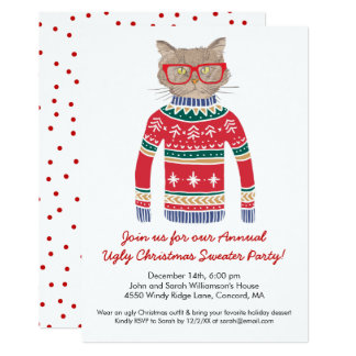 Funny Ugly Christmas Sweater Party Cute Cat Card