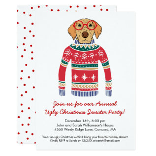 Funny Ugly Christmas Sweater Party Cute Dog Card at Zazzle