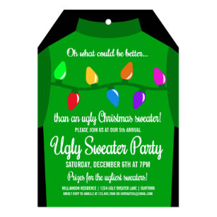 Funny Ugly Christmas Sweater Party Invitation Zazzle Com