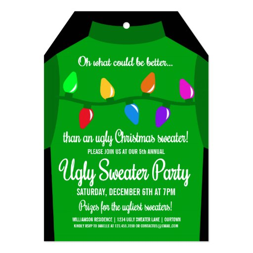 Funny Ugly Christmas Sweater Party Invitation | Zazzle
