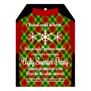 Funny Ugly Christmas Sweater Party Invitation at Zazzle