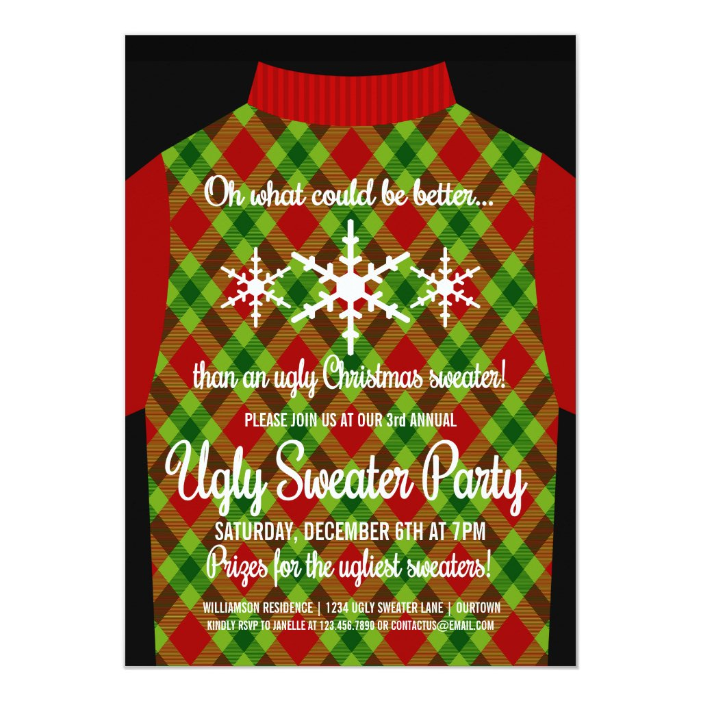 Funny Ugly Christmas Sweater Party Invitation