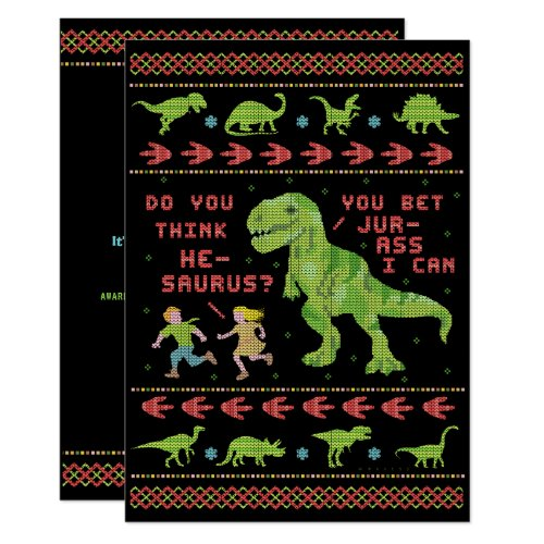 Funny Ugly Christmas Sweater Party T Rex Dinosaur Invitation