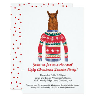 Funny Ugly Christmas Sweater Party With Cute Llama Card at Zazzle