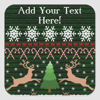 Funny Ugly Christmas Sweater Personalized Square Sticker