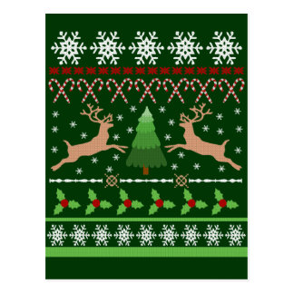 Funny Ugly Christmas Sweater Postcard