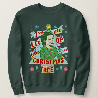 Funny Ugly Christmas Sweater Retro Drinking Woman