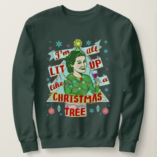 Funny Christmas Sweater.Funny Ugly Christmas Sweater Retro Drinking Woman