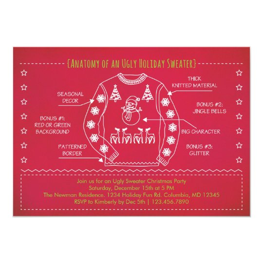 Funny Ugly Sweater Christmas Invitation Zazzle Com