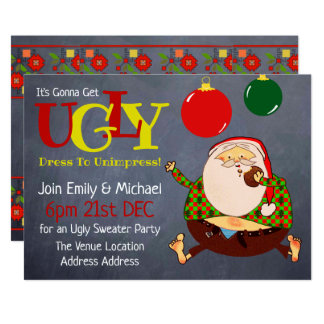 FUNNY UGLY SWEATER Christmas Invite Chalkboard