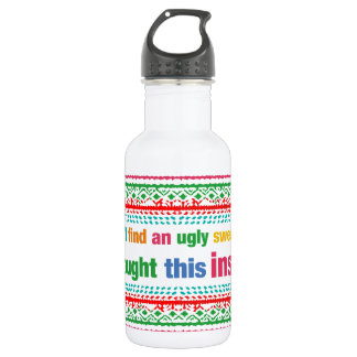 Funny ugly sweater design water bottle