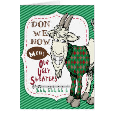 FUNNY Ugly Sweater Meh Goat Christmas Holiday Card