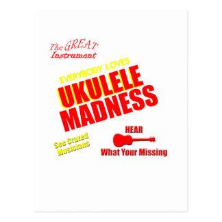 Funny Ukulele Madness Post Card