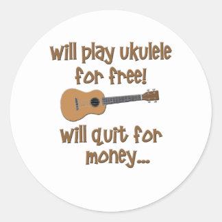 Funny Ukulele Round Sticker