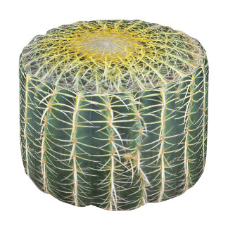 Funny Uncomfortable Tropical Cactus Round Pouf