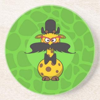 Funny Undercover Giraffe in Mustache Disguise Beverage Coaster