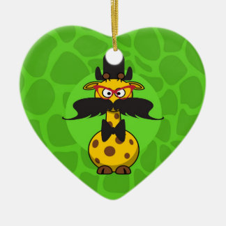 Funny Undercover Giraffe in Mustache Disguise Double-Sided Heart Ceramic Christmas Ornament