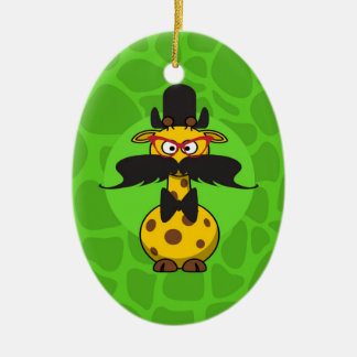 Funny Undercover Giraffe in Mustache Disguise Double-Sided Oval Ceramic Christmas Ornament