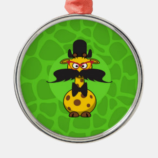 Funny Undercover Giraffe in Mustache Disguise Round Metal Christmas Ornament