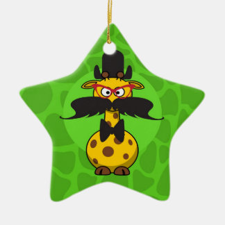 Funny Undercover Giraffe in Mustache Disguise Double-Sided Star Ceramic Christmas Ornament
