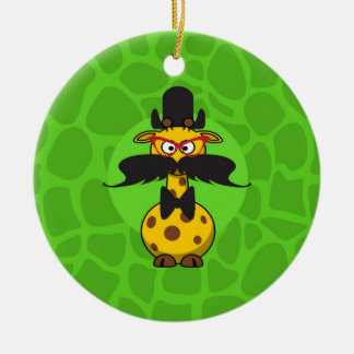 Funny Undercover Giraffe in Mustache Disguise Double-Sided Ceramic Round Christmas Ornament
