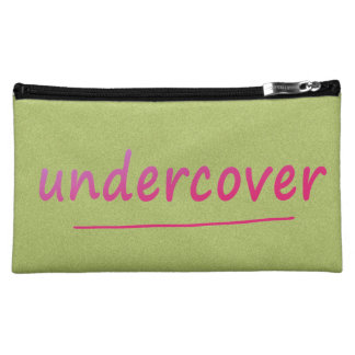 Funny Undercover Shiny Pink Text on any Color Makeup Bag
