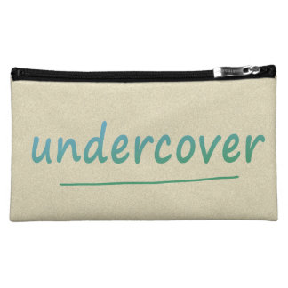 Funny Undercover Shiny Turqoise Text on any Color Makeup Bag