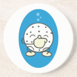 funny underwater golf ball holding its nose drink coasters