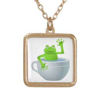 Funny Unexpected Frog in My Tea Cup Gold Plated Necklace